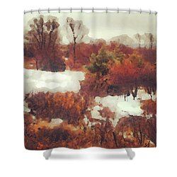 Shower Curtain featuring the digital art Came An Early Snow by Shelli Fitzpatrick