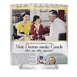 Camel Cigarette Ad, 1946 Shower Curtain by Granger