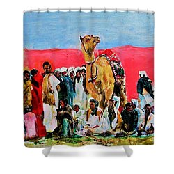 Camel Festival Shower Curtain by Khalid Saeed