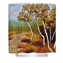 Camel Top Birches Shower Curtain by Jason Williamson