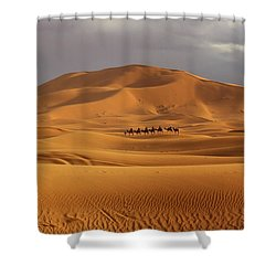 Shower Curtain featuring the photograph Camel Trek by Ramona Johnston