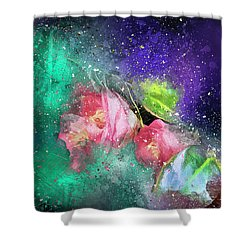 Camellias In A Galaxy Far Far Away Shower Curtain