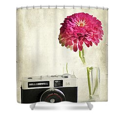 Camera And Flowers Shower Curtain by Darren Fisher
