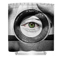 Camera Face Shower Curtain by Semmick Photo