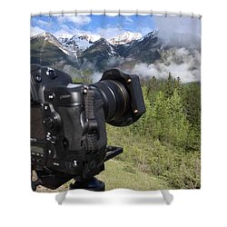 Camera Mountain Shower Curtain