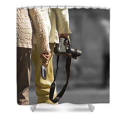 Cameras Unholstered Shower Curtain by Hazy Apple