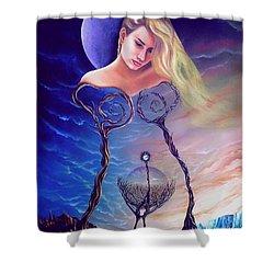 Elementos Shower Curtain by Jorge L Martinez Camilleri