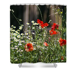Camille And Poppies Shower Curtain