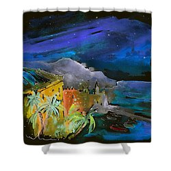 Camogli By Night In Italy Shower Curtain by Miki De Goodaboom