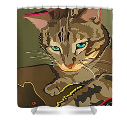 Camouflage Bengal Cat Shower Curtain