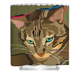 Camouflage Bengal Cat Square Shower Curtain