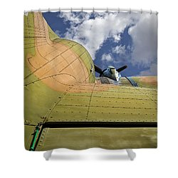 Camouflaged Propeller Aiplane Shower Curtain by Phil Cardamone