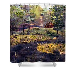 Shower Curtain featuring the painting Camp At Efner Lake Brook by Denny Morreale