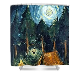 Shower Curtain featuring the painting Camp At Night by Maria Langgle