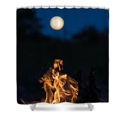 Camp Fire And Full Moon Shower Curtain by Cheryl Baxter