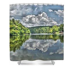 Camp Mountain Lake Shower Curtain