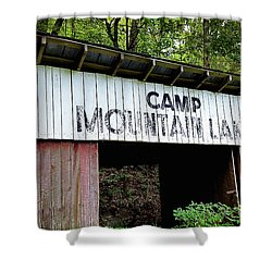 Camp Mountain Lake Horse Stables - Vintage America Shower Curtain