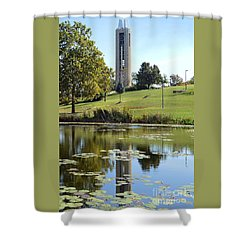 Campanile Reflection In Kansas Shower Curtain
