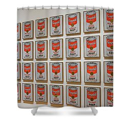 Shower Curtain featuring the photograph Campbell Soup By Warhol by Patricia Hofmeester