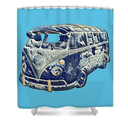 Camper Van Waves Shower Curtain by John Colley