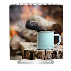 Shower Curtain featuring the photograph Campfire Coffee by Stephanie Frey