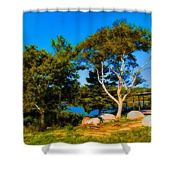 Campfire Lake Shower Curtain