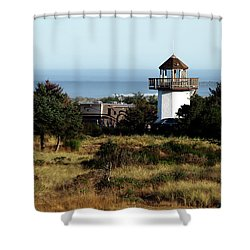 Camping At The Lighthouse Shower Curtain