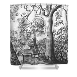 Shower Curtain featuring the drawing Camping Fun by Leanne Seymour