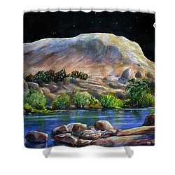 Camping In The Moonlight Shower Curtain