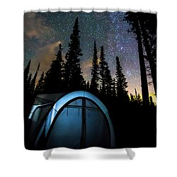 Shower Curtain featuring the photograph Camping Star Light Star Bright by James BO Insogna