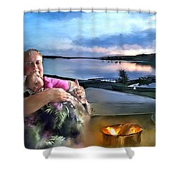 Camping With Grandpa Shower Curtain