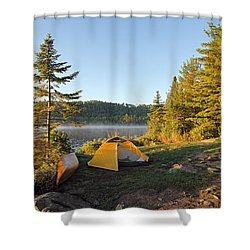 Campsite On Alder Lake Shower Curtain by Larry Ricker