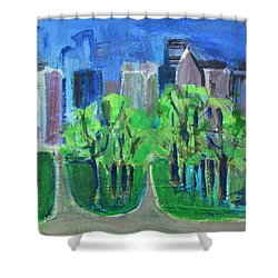 Shower Curtain featuring the painting Campus by Betty Pieper