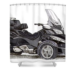 Shower Curtain featuring the painting Can-am Spyder Trike by Jack Pumphrey