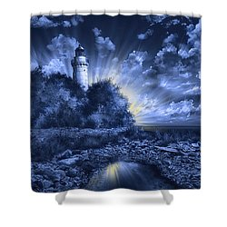 Cana Island Lighthouse Blue Painting By Bekim Art