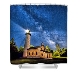 Cana Island Lighthouse Milky Way In Door County Wisconsin Shower Curtain by Christopher Arndt