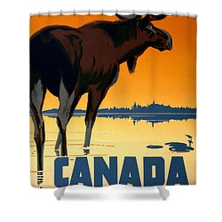 Canada Big Game Vintage Travel Poster Restored Shower Curtain