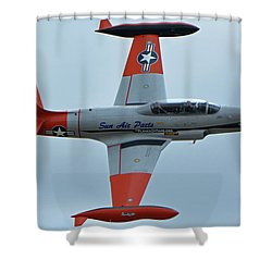 Canadair Ct-133 Silver Star Nx377jp Pacemaker Chino California April 30 2016 Shower Curtain by Brian Lockett