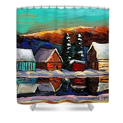 Canadian Art Laurentian Landscape Quebec Winter Scene Shower Curtain by Carole Spandau