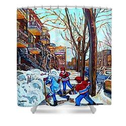 Canadian Art Street Hockey Game Verdun Montreal Memories Winter City Scene Paintings Carole Spandau Shower Curtain