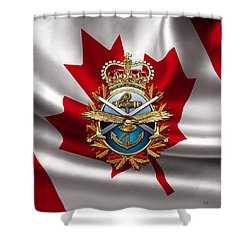 Canadian Forces Emblem Over Flag Shower Curtain