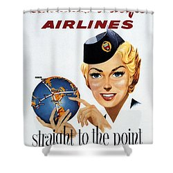 Canadian Pacific Airlines - Straight To The Point - Retro Travel Poster - Vintage Poster Shower Curtain