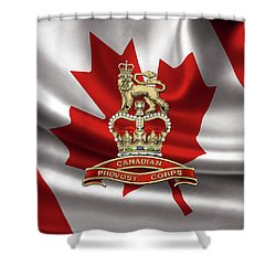 Canadian Provost Corps - C Pro C Badge Over Canadian Flag Shower Curtain by Serge Averbukh