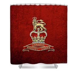 Canadian Provost Corps - C Pro C Badge Over Red Velvet Shower Curtain by Serge Averbukh