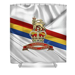 Canadian Provost Corps - C Pro C Badge Over Unit Colours Shower Curtain by Serge Averbukh