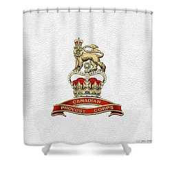 Canadian Provost Corps - C Pro C Badge Over White Leather Shower Curtain by Serge Averbukh