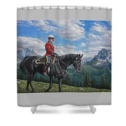 Shower Curtain featuring the painting Canadian Majesty by Kim Lockman