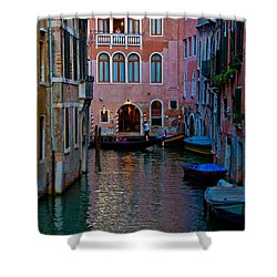 Canal At Dusk Shower Curtain