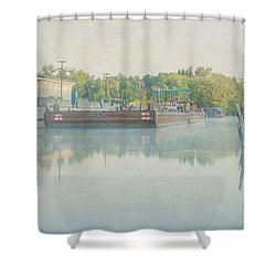 Shower Curtain featuring the photograph Canal In Pastels by Everet Regal