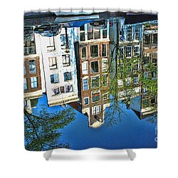 Shower Curtain featuring the photograph Amsterdam Canal Reflection  by Allen Beatty